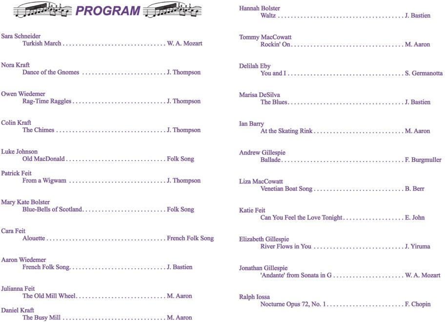 2012 Recital
